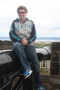 Atop cannon at Edinburgh Castle